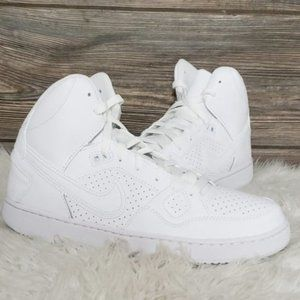 New Nike Son of Force Mid Triple White Sneakers